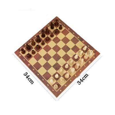 THQC Ajedrez de Madera Plegables Internacional Conjunto magnéticos Juguetes Juego de Mesa con 34 Piezas de ajedrez portátil de Viaje IR Juego Set for el Cabrito (Color : 34 34cm)