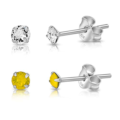 DTPSilver - Set of 2 PAIRS of 925 Sterling Silver Round TINY Stud Earrings made with Glittering Crystals from Swarovski Elements - Diameter: 3 mm - Colour : Yellow Opal