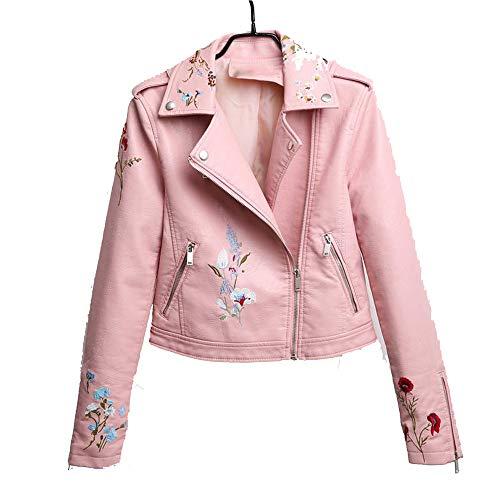 yupiyijia Bestickte Lederjacke für Damen, schlankes Vintage-Design, PU-Leder, Kurze Reißverschluss, Schwarz - Pink - X-Groß