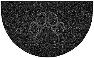 Nicoman Embossed Halfmoon Half Circle Door Mat Dirt-Trapper Jet-Washable Doormat 70x44cm (Black, PAW Shape) - Use Outdoor ...