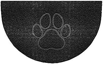 Nicoman Embossed Halfmoon Half Circle Door Mat Dirt-Trapper Jet-Washable Doormat 70x44cm (Black, PAW Shape) - Use Indoor o...