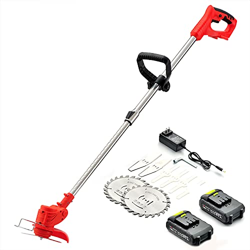 Cordless String Trimmer,Weed Wacker 21V Weed Eater Battery Powered,/Edger Suitable for Lawn Trimming/Pruning/Gardening.Grass Trimmer with Telescopic Rod &Adjustable Head,2 Batteries & Charger Included