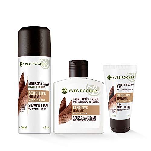 Yves Rocher SENSITIVE HOMME Pflege-Set für Ihn, Männer Gesichtspflege-Set mit Rasierschaum, After-Shave-Balsam und Feuchtigkeitspflege, Wellness Geschenkidee für Männer