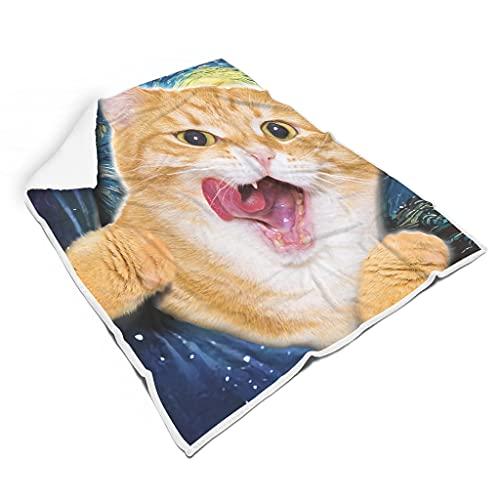 wbinshey Blanket Fantasie lustige Katze Light Weight Washable for Adults Lustig White 130x150cm