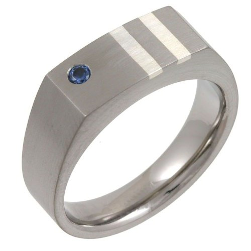 Theia Titanium and Silver Inlay Blue Sapphire Matt 7mm Signet Ring - Size Y
