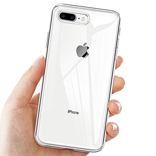 KKTICK Cover Compatibile iPhone 8 Plus e iPhone 7 Plus, Silicone Custodia con Paraurti Assorbimento degli Urti e Anti-Graffio - Trasparente