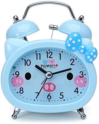 QAZWSX Campana mecánica Reloj Despertador de Noche de Escritorio en Silencio sin tictac, Reloj Despertador de Campana for niños, Lindo, luz de Fondo, operado por batería (Azul) Multifuncional
