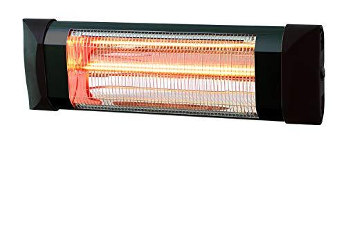 XONE Stufa a infrarossi Nera da Parete 2000w, Classe Protezione IP54, Area Copertura 12mq
