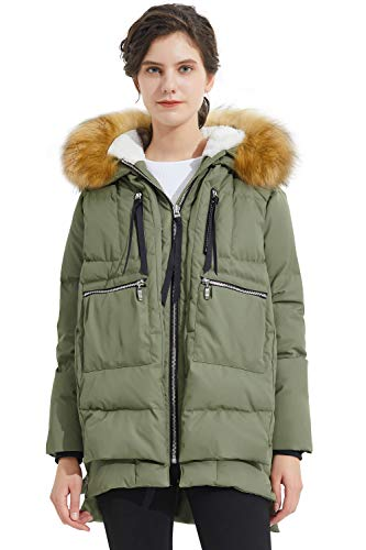 Orolay Women's Thickened Down Jacket Winter Coat with Faux Fur Trim Grey L