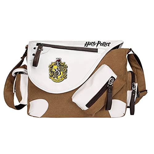 QLma Children's messenger bag Hufflepuff school bag light book bag casual messenger bag 35x26x11cm Brown