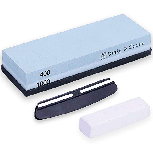 Drake & Coone Wetzstein mit rutschfester Halterung - breiter Schleifstein mit 2 Körnungen (400, 1000) für Messer & Co. - inkl. Polierpaste & Schiene