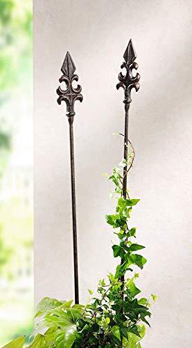 Dekoleidenschaft 2 Metall Gartenstecker Französische Lilie, braun, 110 cm hoch, Antik-Design, Blumensticker