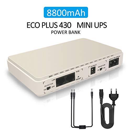 Mini UPS Grupo de continuidad para Router, módem, cámara, Webcam, VOIP con batería 8800 mAh Entrada 100~240 V CA Salida 5 V 9 V 12 V 15 V