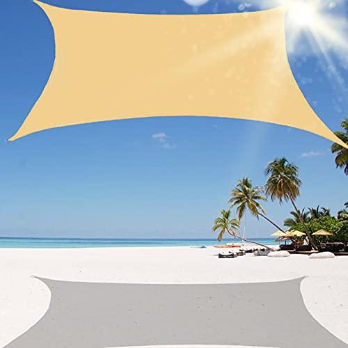 Toldo Vela de Sombra Rectangular, Se instala fácil en Fachada Exterior, Terraza, Jardín, Pérgola, Patio Balcón con Kit Montaje para Patio Exteriores Jardín Color Antracita,Sand,5mx5m/16