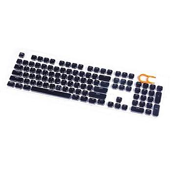 E-Yooso Keycaps Set Double Shot Translucent Backlit 104 Key Cap with Key Puller for Mechanical Gaming Keyboards  Black