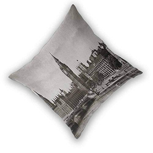 London Pillowcase Set, Westminster with Big Ben and Bridge Nostalgic Image British Antique Architecture Colorful Decorative Couch for Bedroom Living Room Sofa Home Decor, W26'xL26' Sepia White
