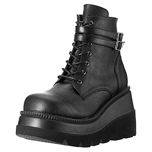 Motorcycle Boots For Womens Round Toe Shoes Chunky Fashion High Heel Thick Waterproof Boot Black
