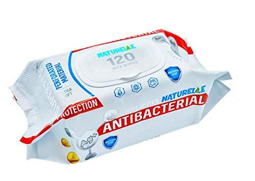 Naturelle Salviettine umidificate antibatteriche - Reti per superfici e mani, 1440 salviette (12 confezioni da 120)