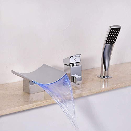 Yongenee Moderna Inteligente Cambio de Color Led Caliente y frío Grifo del baño Completo Cobre 3 Agujero baño Cascada 2 Función Tire computadora de Mano Ducha Hermosa práctica