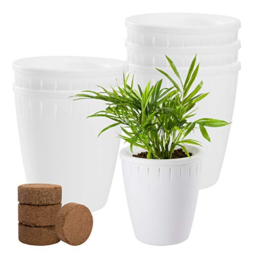 Pack of 6 Self Watering Flower Planter Sets- 5.1' White Modern Decorative Flower Pots...