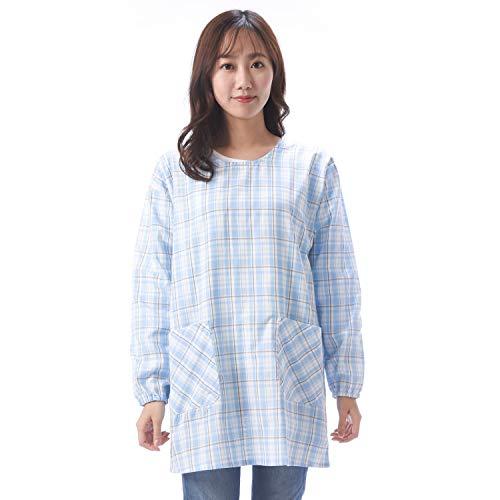 NISHIKI[ニシキ] 割烹着 かっぽう着 ML/LL 大きいサイズ 綿ポリ さらりと軽い 動きやすい レディース ポケット付き 袖付きエプロン スモック kappou (ブルー:5/ML/50210)