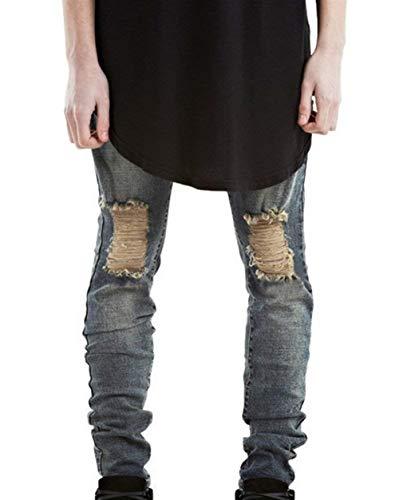 Herren Superenge Stretch Jeans Mit Rissen Freizeithose Am Knie In Verwaschenem Slim Fit Bekleidung Jeanshose Denim Hose Zerissene Löcher Jeans (Color : Blau, Size : 34)