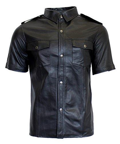 RICANO Mens Shirt SS, Herren Lederhemd, Lamm Nappa Echtleder (schwarz) (M)