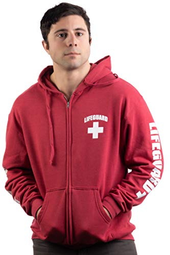 Lifeguard | Zip Fleece Hoody Sweatshirt Hoodie Sweater Unisex Uniform Men Women - Zip,S Red