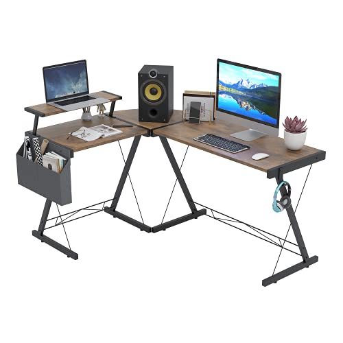 Dripex L Shaped Computer Corner Desk with Monitor Stand Storage Bag, Industrial Gaming Desk, Writing Workstation PC Laptop Study Table for Home Office 152x113x72cm