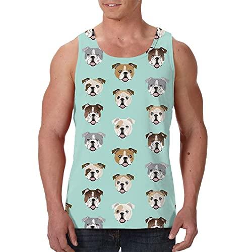 Tank Top Herren Sommer ärmellos Weste Shirts Tops Tees – Englische Bulldogge lustiger Hund Kopf, Schwarz , XXL