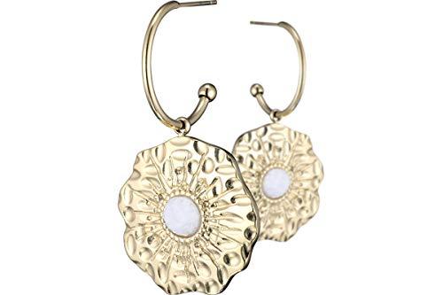 Ikita Gold Plated Agate Medallion Pierced Earrings