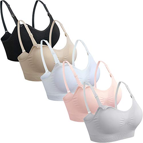 GXXGE 5Pack Womens Seamless Clip Down Maternity and Nursing Bra Push Up Sleeping Bralette for Breastfeeding Underwear Black Beige White Grey Pink XX-Large
