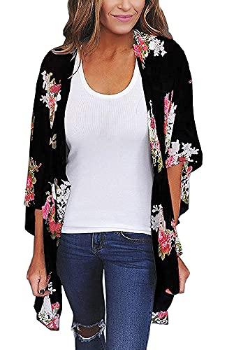 Women's Floral Print Short Sleeve Shawl Chiffon Kimono Cardigan Casual Blouse Tops(Black S)