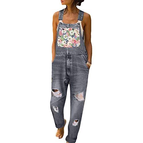 HANMAX Damen Latzhose Retro Jeanshose Trägerhose Hoseanzug Denim Overall Gerades Bein Zerrissen Lang Ärmellos Skinny mit Taschen