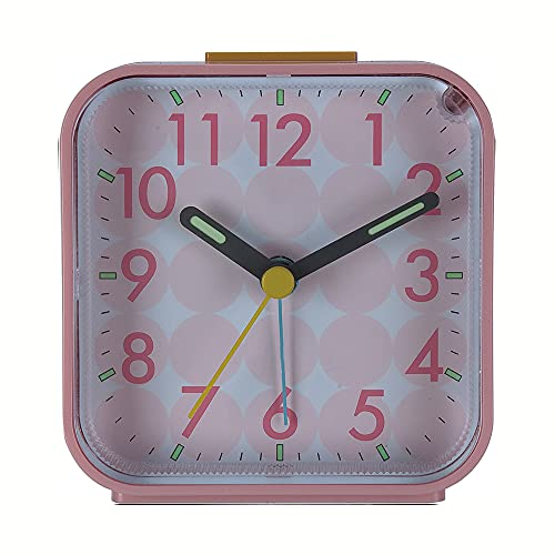KIHL Despertador de alarmas analógicas ABS sin tictac, sonido de pitido ascendente reloj de viaje con lámpara de noche suave despertar