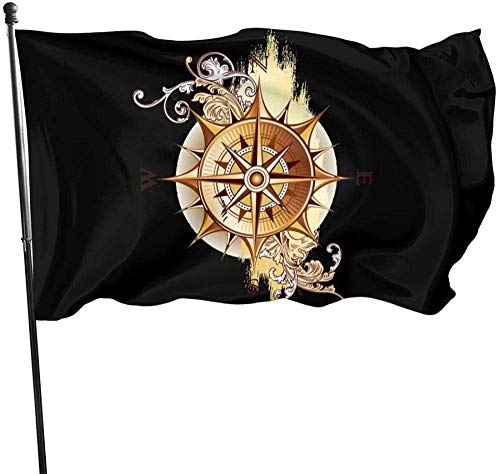 MYGED Garden Flag,Funny Vintage Nautical Compass Sun Flower Themed Welcome Party Outdoor Outside Decorations Ornament Picks Home House Garden Yard Decor 3 X 5 Ft Small Flag