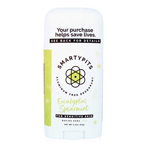 SmartyPits – Natural/Aluminum-Free Deodorant for Sensitive Skin (baking soda free) Paraben Free, Phthalate Free, PROPYLENE GLYCOL FREE, Not Tested on Animals | 2.9oz | (Eucalyptus Spearmint)