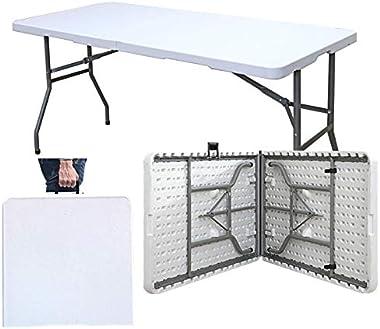 sogesfurniture Table de Jardin Blanc en Plastique - Intérieure/Extérieure/, Table Pliante pour Camping Traiteur Buffet Picnic