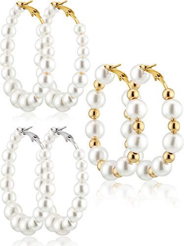 3 Paare Perle Ohrring Perle Baumeln Ohrringe Geschenke für Frauen Bräute Geschenk