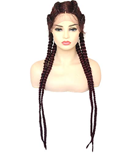 BLUPLE 30'' Long 100% Hand Braided Swiss Lace Front Wigs Cherry Double Dutch Braids Wig with Baby Hair Mixed Burgundy Red Black Color Heat Resistant Lightweight Synthetic Twisted Braids Hair for Women