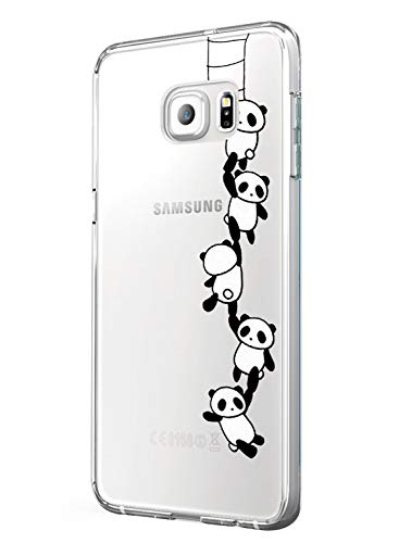 Cover Galaxy S6 Edge Plus Trasparente Silicone Ultra Panda Lupo Cactus Disegno Animale Ultra Slim Custodia in Silicone Antiurto No-Slip Anti-Graffio Morbido per Samsung Galaxy S6 Edge Plus (Panda)