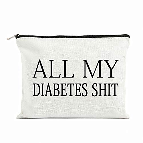 All My Diabetes Shit Funny Diabetic Travel Bag Pouch Personalized Gift for Diabetic Emergency Supply Bag for Grandma Grandpa Mom Dad Sister Brother for Birthday Christmas Gifts