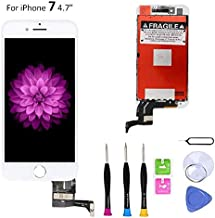 Screen Replacement Compatible with iPhone 7 White 4.7 Inch LCD - Compatible with iPhone 7 4.7 inch 3D Touch Screen Display Repair Kit Assembly with Complete Repair Tools-(White)