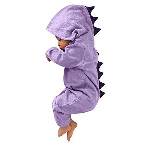 Newborn Baby Boy Girl Cute Dinosaur Hooded Romper Jumpsuit Clothes (3M, Purple)