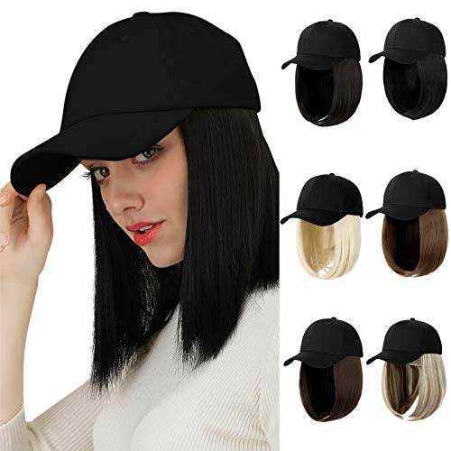 AynnQueen Baseball Cap with Hair Short Bob Hair Extensions for Women Wavy Natural Bob Hairstyle Removable Wigs Adjustable Black Baseball Cap (Ginger Brown Mix Bleach Blonde)