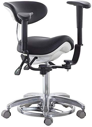 Wxnnx Medical Dental Chair Mikroskop Sattelhocker Fußgesteuert/Pedalfuß PU-Leder mit 45 ° schwenkbaren Armlehnen