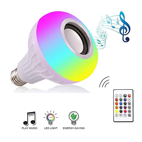 Anferstore 12W LED Music Light Bulb with Bluetooth Speaker E27 RGB Changing Color Built-in Audio Speaker Lamp with Remote Control for Home, Bedroom, Living Room, Party Decoration (Base Model A)