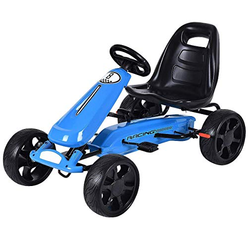 Costzon Go Kart, 4 Wheel Powered Ride On Toy, Kids' Pedal Cars for Outdoor, Racer Pedal Car with...