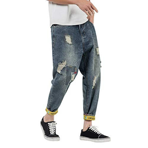 Herren Loose Destroyed Cropped Boyfriend Jeans Neu Overall Freizeit Bequem Hose Gerade Cargohose GreatestPAK,Blau,28(Taille:70cm)