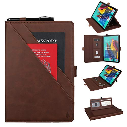 YANCAI Case Cover Horizontal Flip Double Bracket Leather Case for Galaxy Tab S 5E 10.5 / T720 / T725, with Card Slots & Photo Frame & Pen Slot (Color : Dark Brown)